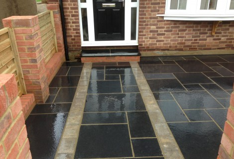 Midnight Black Limestone Paving, Walls & Delux Fence